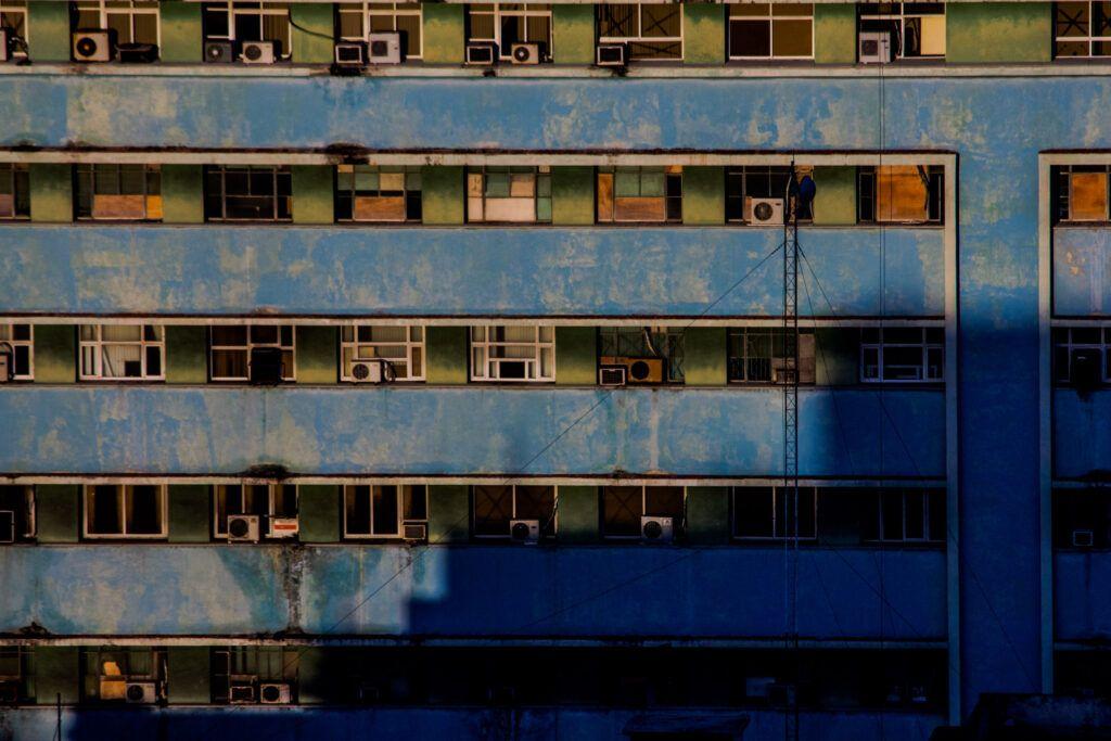 La Havana, Fachada edificio azul-La Havana, Cuba-2014