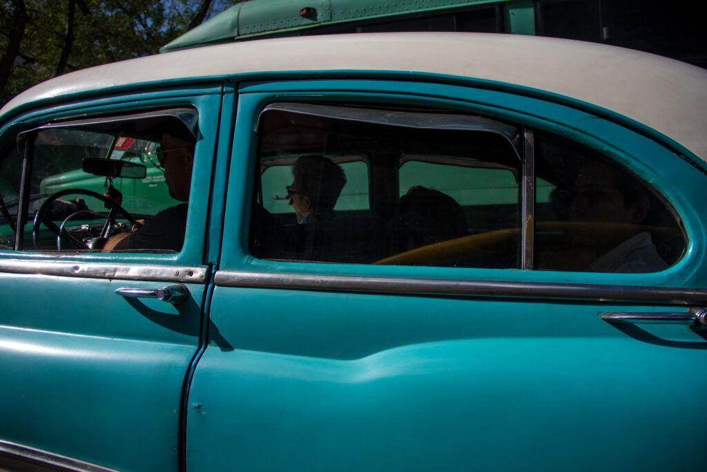 Auto Antiguo Celeste-Verde-La Havana, Cuba-2014